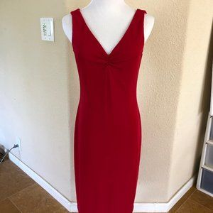 DAVID MEISTER Red Column Sheath Dress Cocktail 6